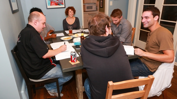 Early table read of the script. Mark has his back to the camera.  Jason is in the upper right. -- Photo by Johnny Shryock